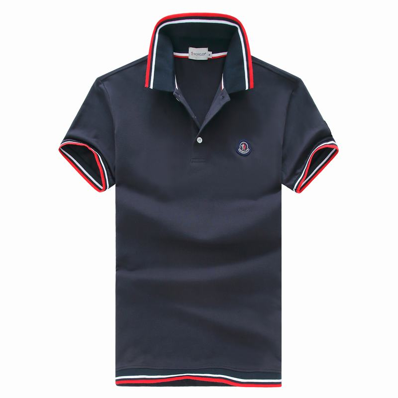 2018 Moncler New Italy Silk Cotton Limited Polo Classic Blue LOGO Dark Blue